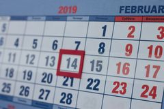 Holiday date February 14 on the calendar page stock image