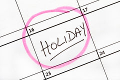 Holiday Date Marked on a Calendar. Stock Photography