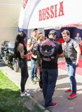 A group of bikers communicates. royalty free stock images