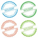 Holiday deals badge isolated on white background. Flat style round label with text. Circular emblem vector illustration Stock Photo