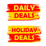 Daily and holiday deals, yellow and red drawn labels Royalty Free Stock Photography