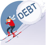 Holiday Debt. Woman running on skis from avalanche of debt, vector illustration on holiday overspending, EPS 8 Stock Photo