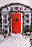 Holiday decorated front entrance to home royalty free stock photo