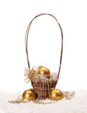 Holiday decoration. A basket with Chrismas balls on white background Stock Photography