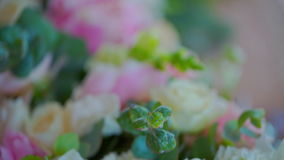 Holiday decoration compositions of live flowers, roses stock video footage