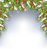 Holiday Decoration with Fir Branches and Holly Berries. Illustration Holiday Decoration with Fir Branches and Holly Berries, Copy Space for Your Text - Vector Royalty Free Stock Photo