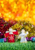 Holiday decoration on green grass Royalty Free Stock Photography