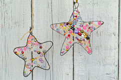 Holiday decoration. Star of wire and beads Royalty Free Stock Image