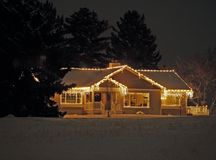 Holiday Decorations. This image of the decorated home was taken at night in western MT Royalty Free Stock Images