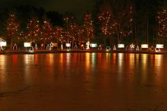 Holiday Decorations. Christmas Lights over a Pond royalty free stock photography