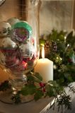Holiday Decorations and Candle Stock Photos