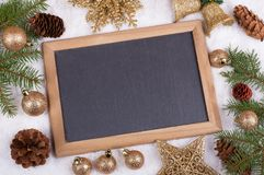 Holiday Decorations and Chalkboard Stock Images