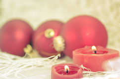 Holiday decorations for Christmas new year candle stock photography
