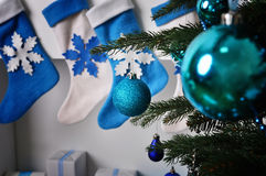 Holiday decorations on the Christmas tree Stock Image