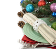 Holiday decorations and cutlery Stock Photos