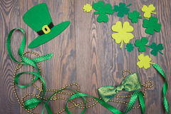 Holiday decorations for Day of Saint Patricks hat, bow, shamrock. Stock Images