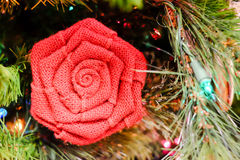 Holiday decorations flower on a tree Stock Images
