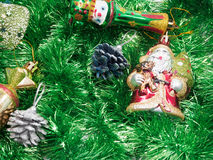 Holiday decorations with fur-tree and toys Royalty Free Stock Photos