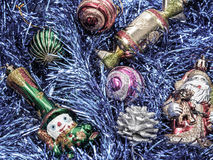 Holiday decorations with fur-tree and toys Royalty Free Stock Photo