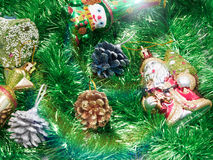 Holiday decorations with fur-tree and toys Royalty Free Stock Images