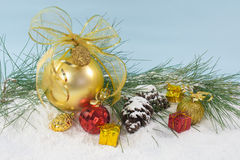 Holiday decorations with Gold Ball Royalty Free Stock Photos
