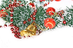 Holiday Decorations, golden Christmas Bell Stock Image