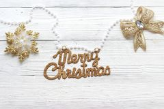 Holiday decorations and inscription: Merry Christmas royalty free stock image