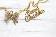 Holiday decorations and inscription: Merry Christmas stock photos