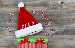 Holiday Decorations on Rustic Wood Stock Photos