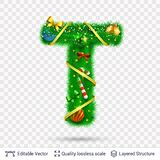 Holiday decorative letter of fir tree with toys. Christmas and New Year holiday alphabet symbol. Vector font element vector illustration