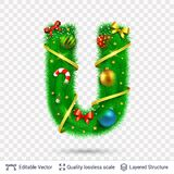 Holiday decorative letter of fir tree with toys. Christmas and New Year holiday alphabet symbol. Vector font element royalty free illustration
