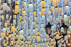 Holiday decorative street lanterns. Evening illumination stock image