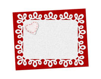 Holiday delicate, lacy card. St. Valentines day. Confess his love, declaration of love, Invitation, decorated fabric heart. Isolated on the white Stock Image