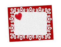 Holiday delicate, lacy card. St. Valentines day. Confess his love, declaration of love, Invitation, decorated red fabric heart. Isolated on the white Stock Photo