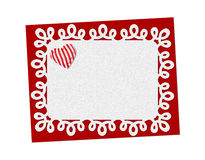 Holiday delicate, lacy card. St. Valentines day. Confess his love, declaration of love, Invitation, decorated striped fabric heart. Isolated on the white Stock Photography