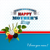 Holiday design, background for Celebration of Mother's Day. Holiday design, background with white, red, black roses in nice bouquet of flowers , I love you mom Stock Photos