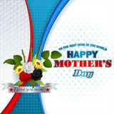 Holiday design, background for Celebration of Mother's Day. Holiday design, background with white, red, black roses in nice bouquet of flowers , I love you mom Stock Image