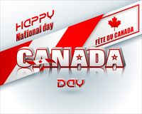 First of July, Canada day. Holiday design, background with 3d texts, maple leaf and national flag colors, for first of July, Canada National day, celebration Royalty Free Stock Photo