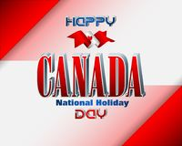 Canada day celebration, First July. Holiday design, background with 3d texts, maple leaf and national flag colors, for first of July, Canada National day Stock Photography