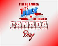 Celebrating First July, Canada day. Holiday design, background with 3d texts, maple leaf and national flag colors, for First of July, Canada National day Stock Images