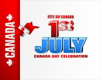 Celebrating Canada day; First July. Holiday design, background with 3d texts, maple leaf and national flag colors, for First of July, Canada National day Stock Images