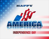 4th of July, U.S. Independence day celebration. Holiday design, background with 3d texts and national flag colors for fourth of July, America Independence day Vector Illustration
