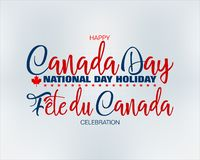 Canadian national holiday, First July, celebration. Holiday design, background with handwriting and 3d texts, maple leaf and national flag colors for First of royalty free illustration
