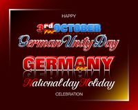 German Unity Day, Third of October, celebration. Holiday design, background with handwriting, 3d texts and national flag colors for third of October, Day of vector illustration