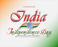Fifteenth of August, celebration of Independence day in India. Holiday design, background with handwriting and 3d texts, and spinning wheel on national flag stock illustration