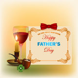 Holiday, design background for Happy Father's day. Holiday, design background with top hat, glass of wine, candle and smoking pipe with stylized lucky clover, in Stock Image