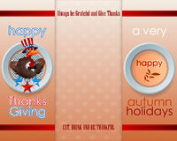 Holiday design with cartoon turkey on maple leaves pattern for Thanksgiving Day Stock Image