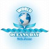Holiday design for celebration of World Oceans day stock illustration