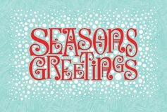 Free Holiday Design With Retro Typography And Snow In Red And Aqua. Seasons Greetings. Stock Photo - 165985300