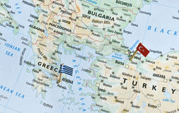 Greece and Turkey map, holiday destinations royalty free stock photography